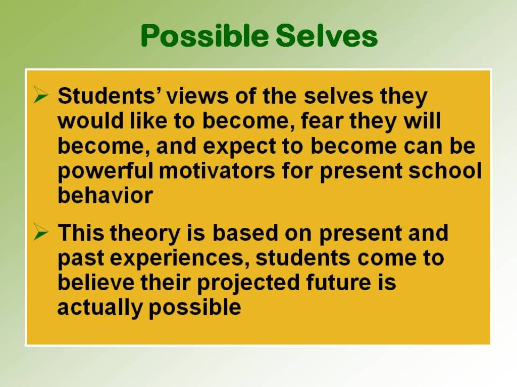 possible selves Best possible future selves exercise possible selves have been defined as personalized representations of goals (markus & nurius, 1986).
